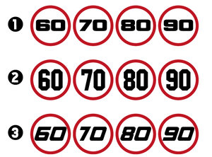 SPEED LIMIT STICKERS - 60-70-80-90